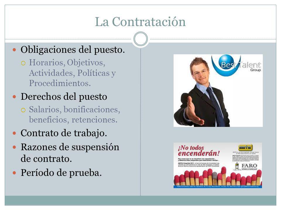 La Contratación Obligaciones del puesto. Derechos del puesto