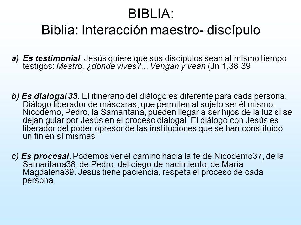 BIBLIA: Biblia: Interacción maestro- discípulo
