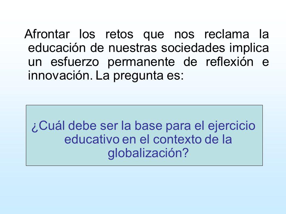 Afrontar los retos que nos reclama la educación de nuestras sociedades implica un esfuerzo permanente de reflexión e innovación. La pregunta es: