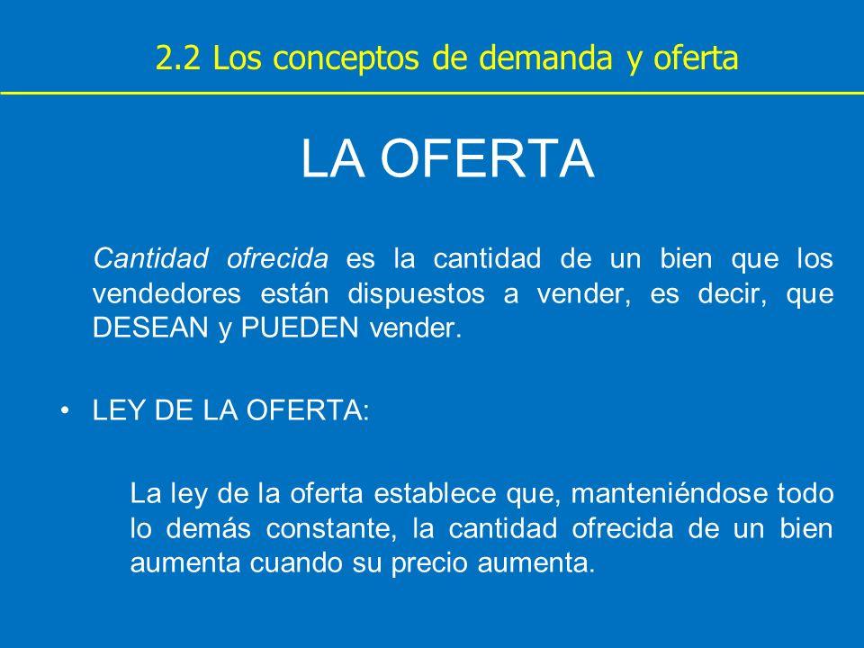 LA OFERTA 2.2 Los conceptos de demanda y oferta