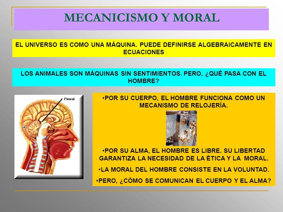 MECANICISMO Y MORAL EL UNIVERSO ES COMO UNA MÁQUINA. PUEDE DEFINIRSE ALGEBRAICAMENTE EN ECUACIONES.