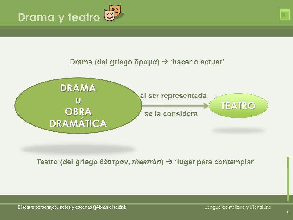 Drama (del griego δράμα)  'hacer o actuar'