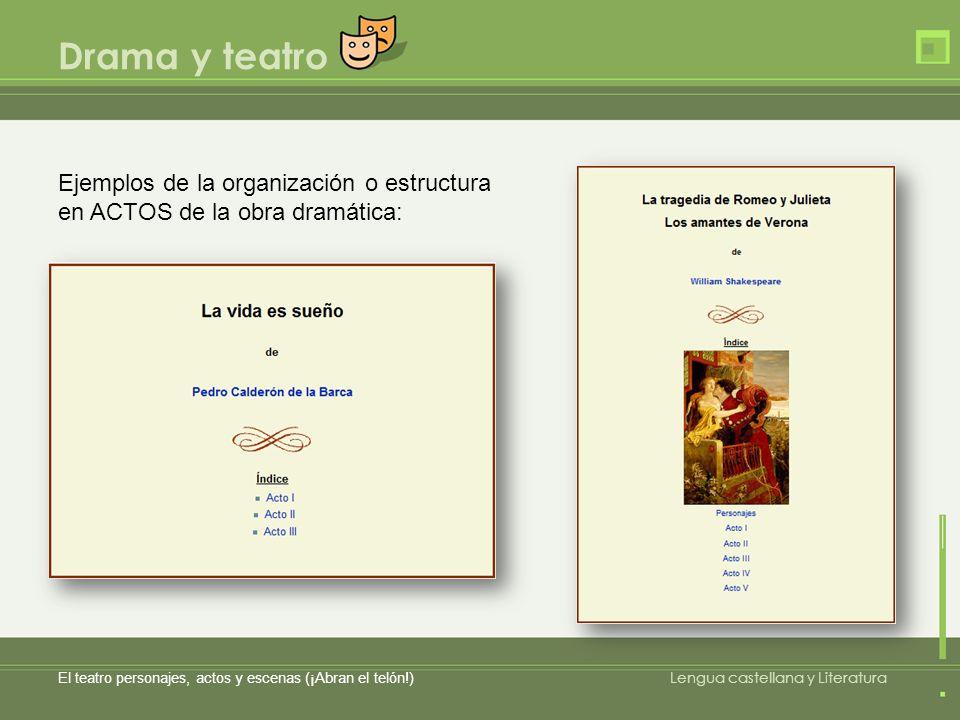 Drama y teatro Ejemplos de la organización o estructura en ACTOS de la obra dramática: El teatro personajes, actos y escenas (¡Abran el telón!)