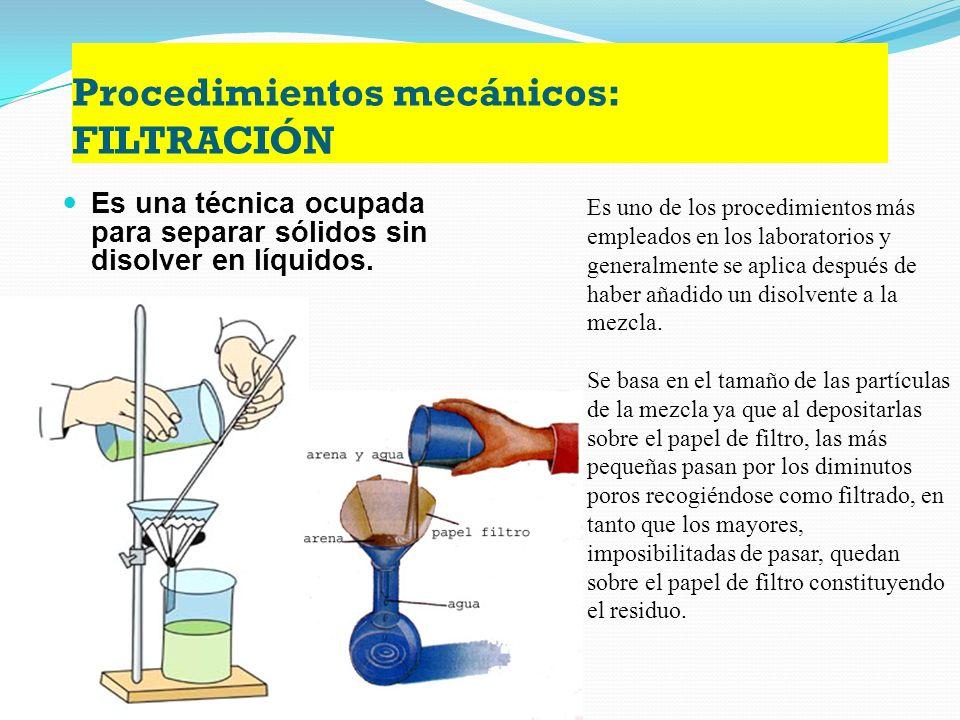 Procedimientos mecánicos: FILTRACIÓN