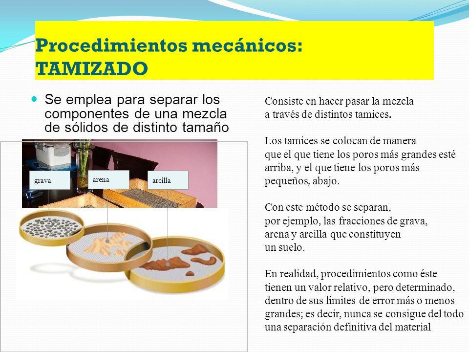 Procedimientos mecánicos: TAMIZADO