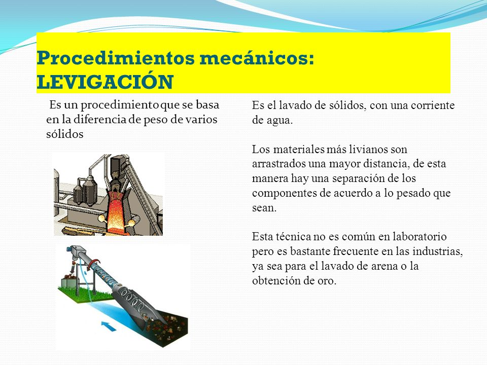 Procedimientos mecánicos: LEVIGACIÓN