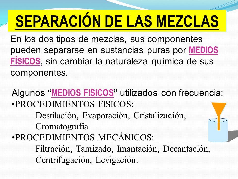 SEPARACIÓN DE LAS MEZCLAS