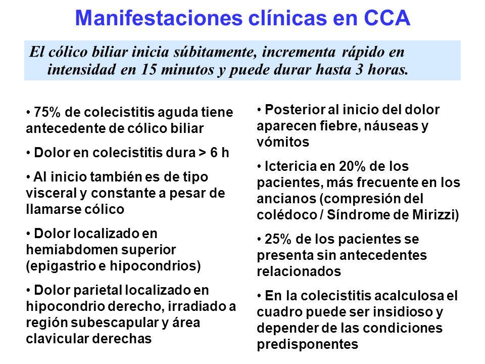 Manifestaciones clínicas en CCA