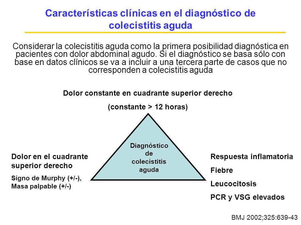 Características clínicas en el diagnóstico de colecistitis aguda