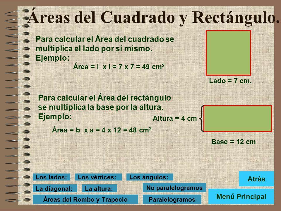 Áreas del Cuadrado y Rectángulo.