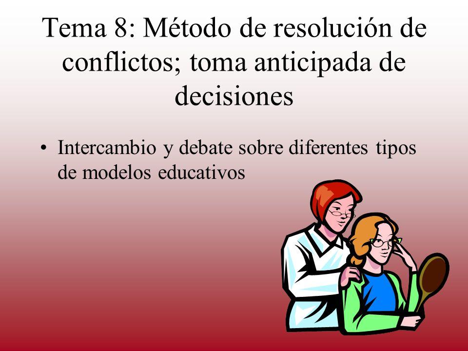 Tema 8: Método de resolución de conflictos; toma anticipada de decisiones