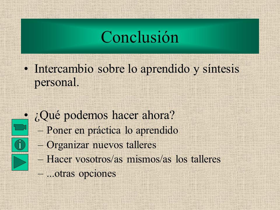 Conclusión Intercambio sobre lo aprendido y síntesis personal.