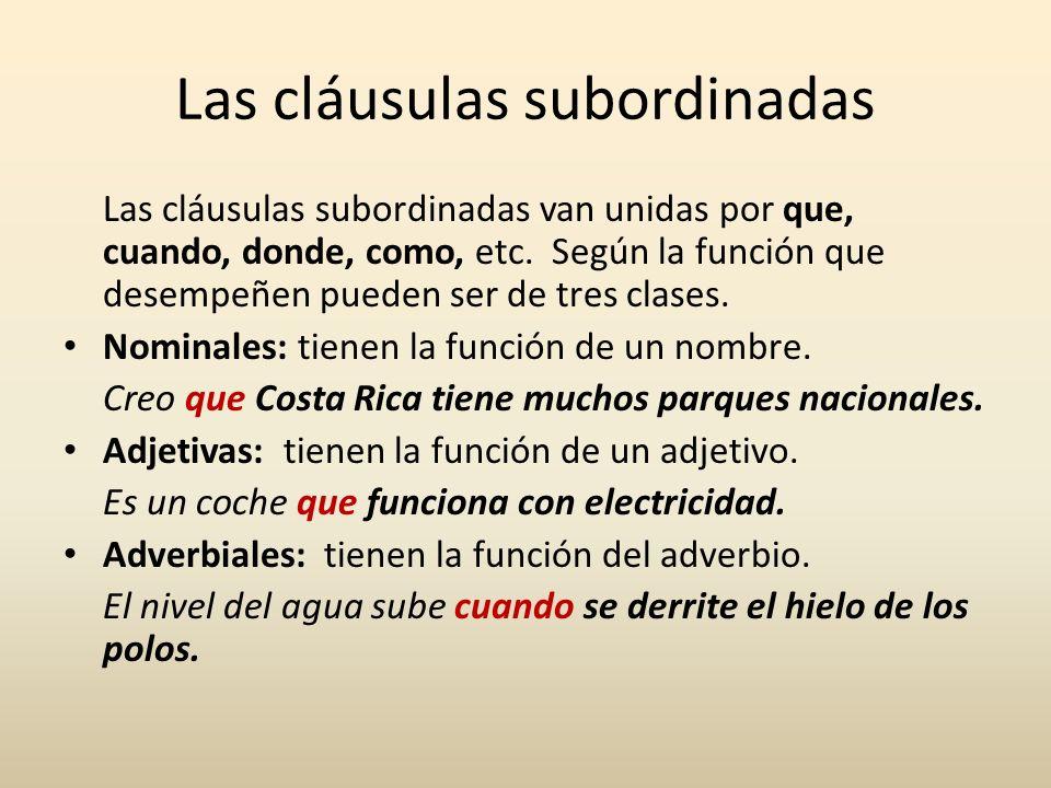 Las cláusulas subordinadas