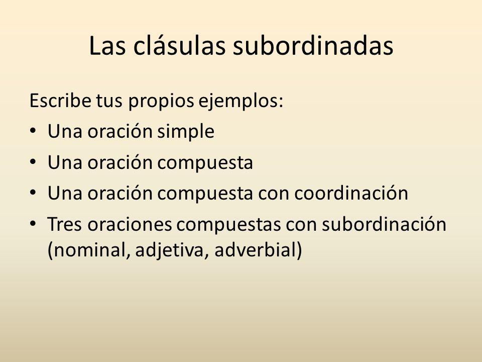 Las clásulas subordinadas