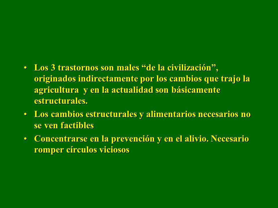 Los 3 trastornos son males de la civilización , originados indirectamente por los cambios que trajo la agricultura y en la actualidad son básicamente estructurales.