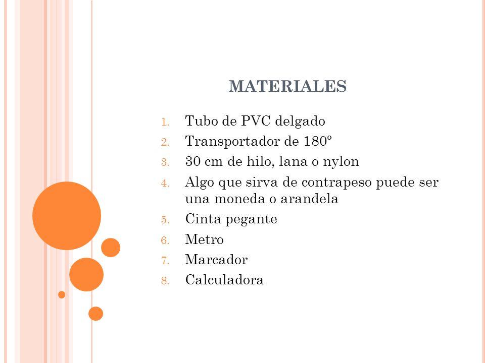 materiales Tubo de PVC delgado Transportador de 180º