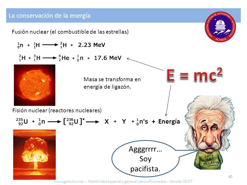 E = mc2 Agggrrrr… Soy pacifista. La conservación de la energía