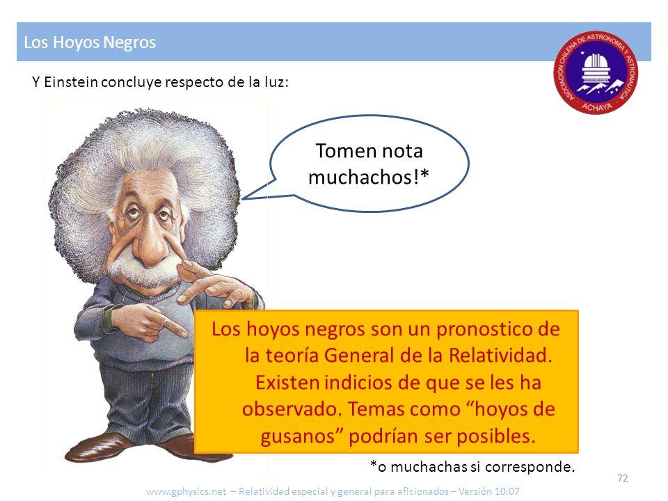 Los Hoyos Negros Y Einstein concluye respecto de la luz: Tomen nota muchachos!*