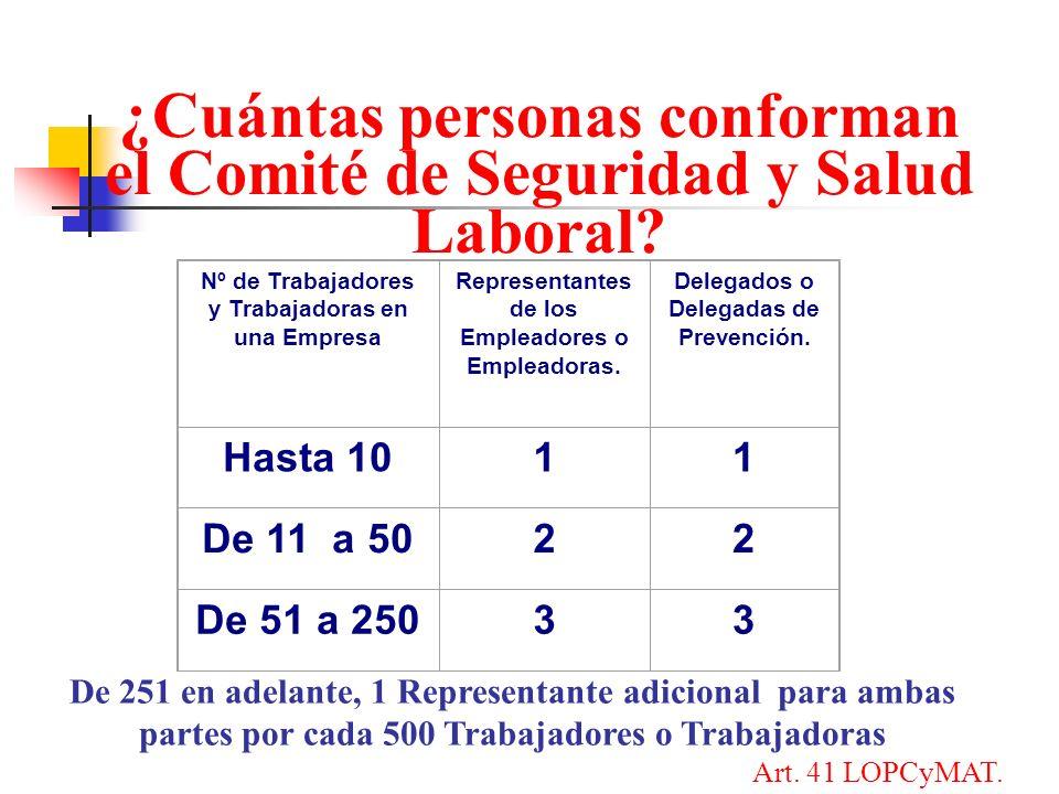 ¿Cuántas personas conforman el Comité de Seguridad y Salud Laboral