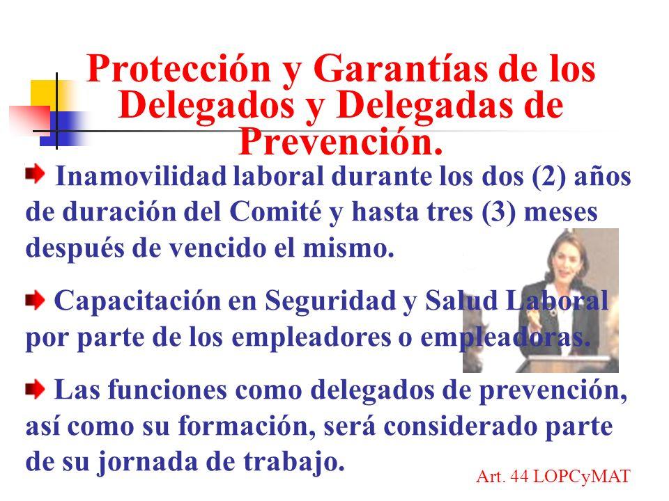 Protección y Garantías de los Delegados y Delegadas de Prevención.