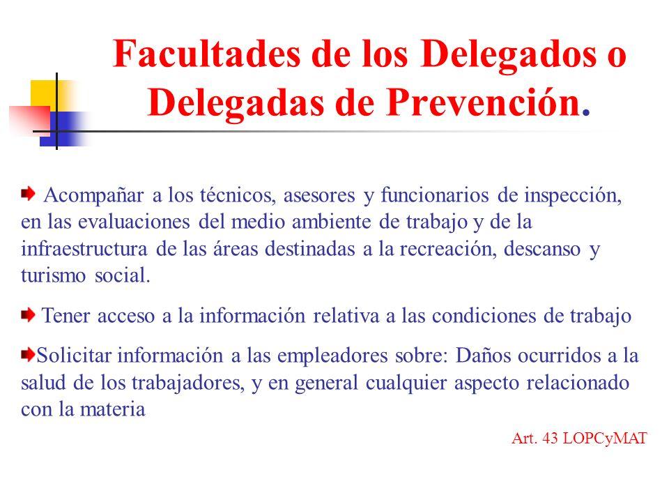 Facultades de los Delegados o Delegadas de Prevención.