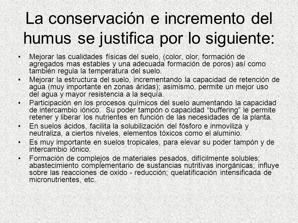 La conservación e incremento del humus se justifica por lo siguiente: