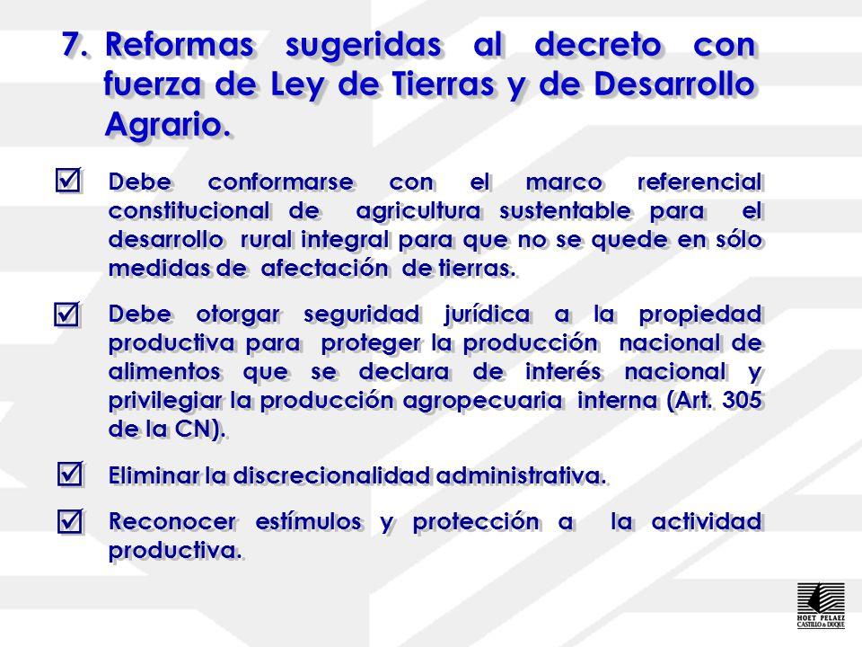7. Reformas sugeridas al decreto con fuerza de Ley de Tierras y de Desarrollo Agrario.
