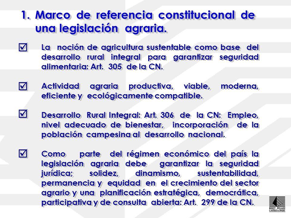 Marco de referencia constitucional de una legislación agraria.