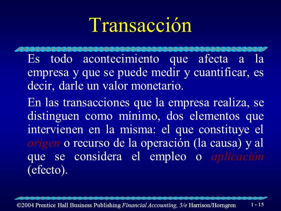 TransacciónEs todo acontecimiento que afecta a la empresa y que se puede medir y cuantificar, es decir, darle un valor monetario.
