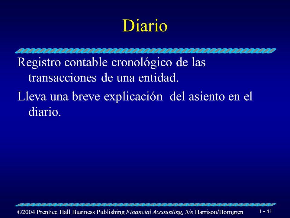DiarioRegistro contable cronológico de las transacciones de una entidad.