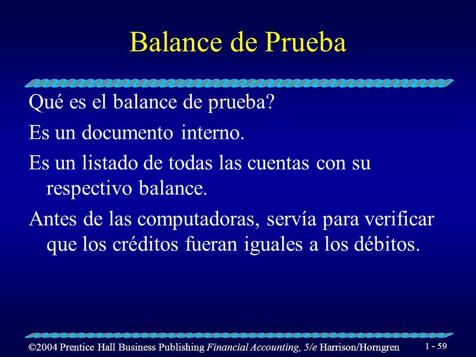 Balance de Prueba Qué es el balance de prueba