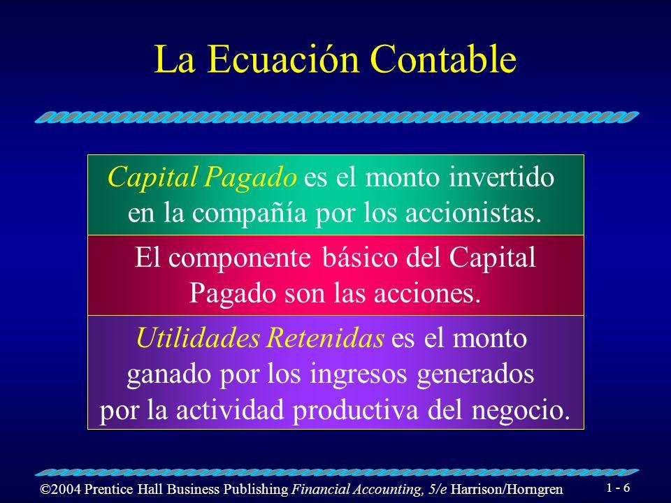 La Ecuación Contable Capital Pagado es el monto invertido