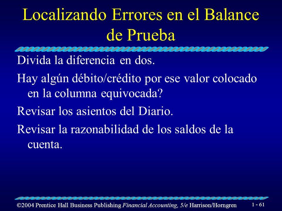 Localizando Errores en el Balance de Prueba