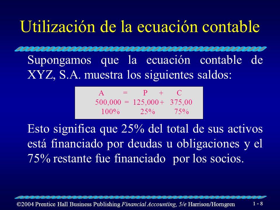 Utilización de la ecuación contable