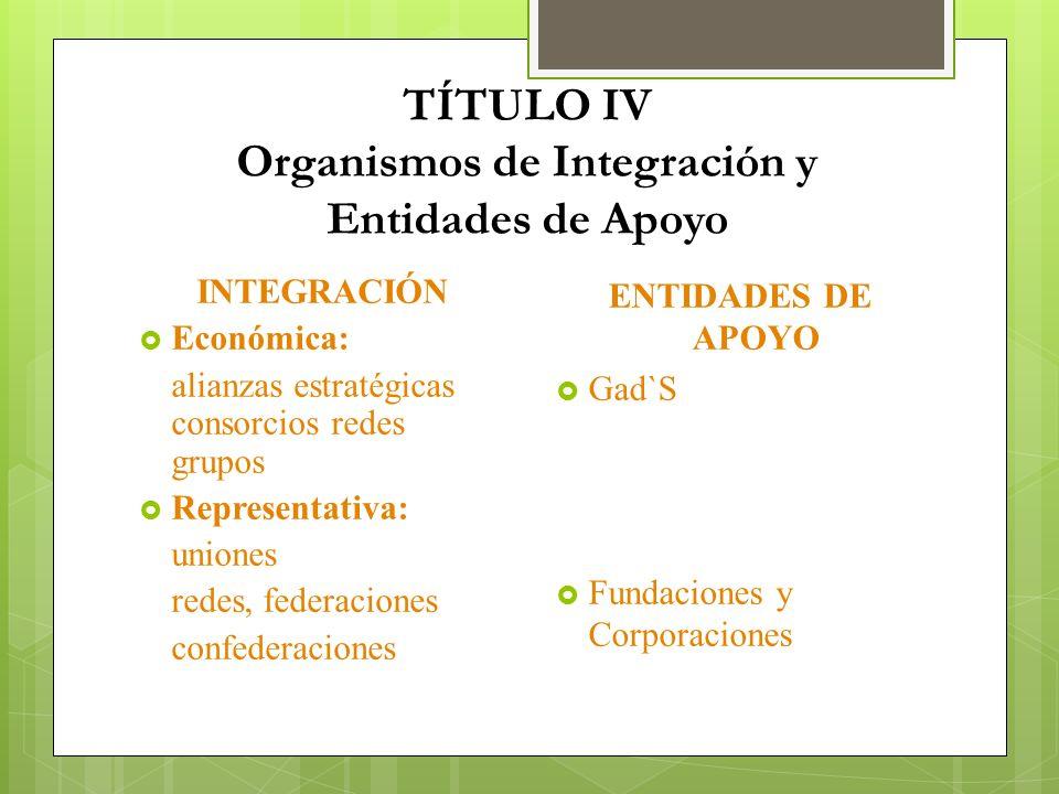 TÍTULO IV Organismos de Integración y Entidades de Apoyo