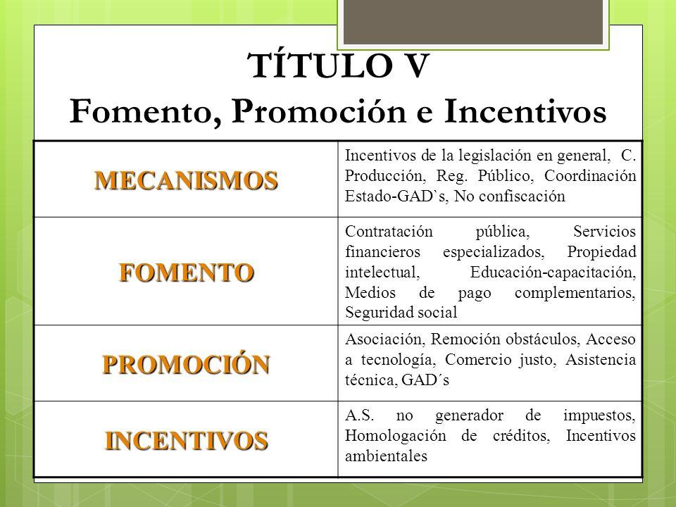 TÍTULO V Fomento, Promoción e Incentivos