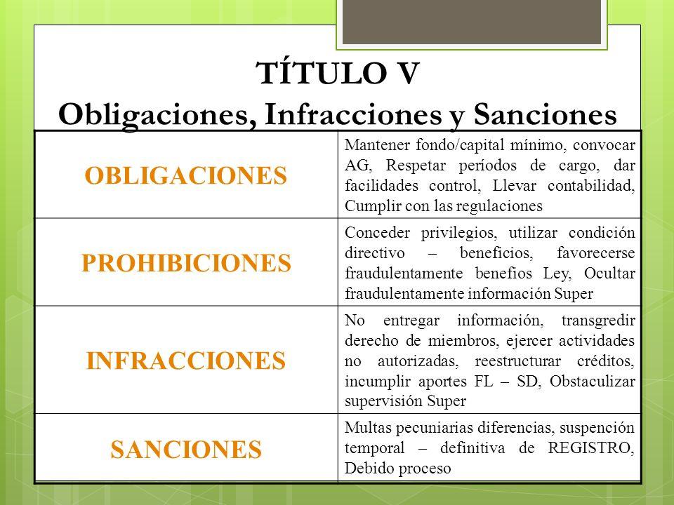 TÍTULO V Obligaciones, Infracciones y Sanciones