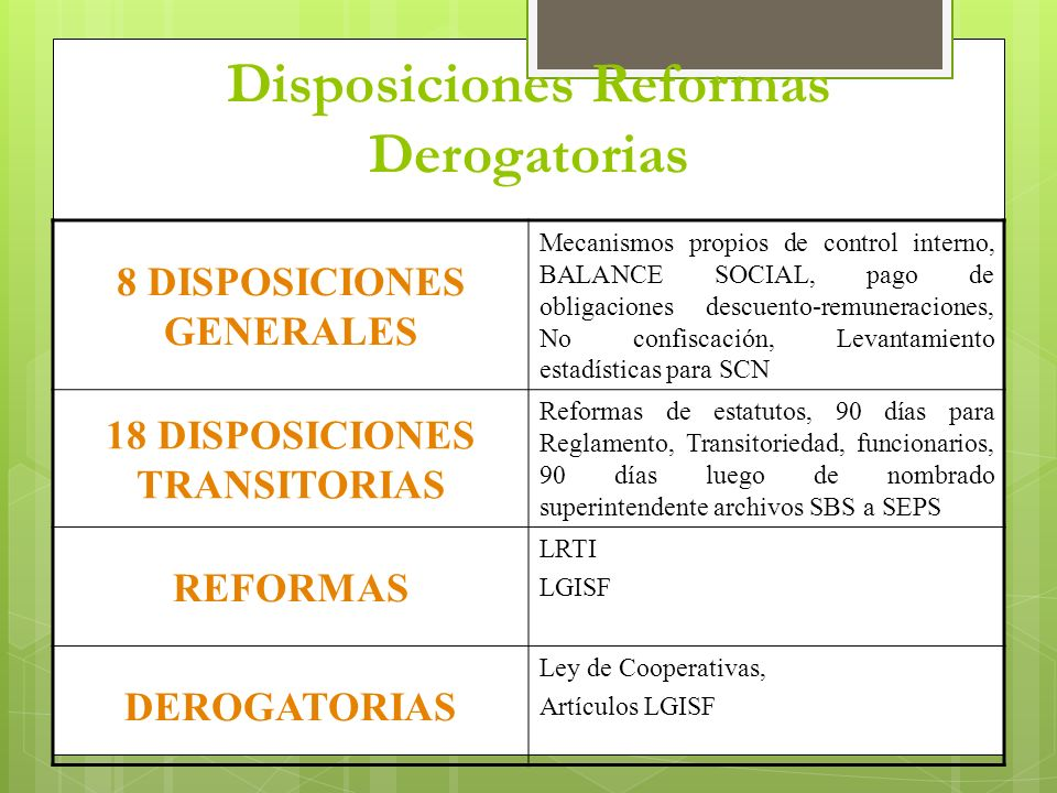 Disposiciones Reformas Derogatorias