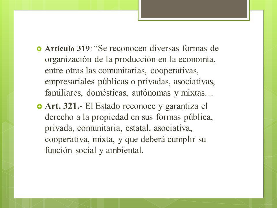Artículo 319: Se reconocen diversas formas de organización de la producción en la economía, entre otras las comunitarias, cooperativas, empresariales públicas o privadas, asociativas, familiares, domésticas, autónomas y mixtas…