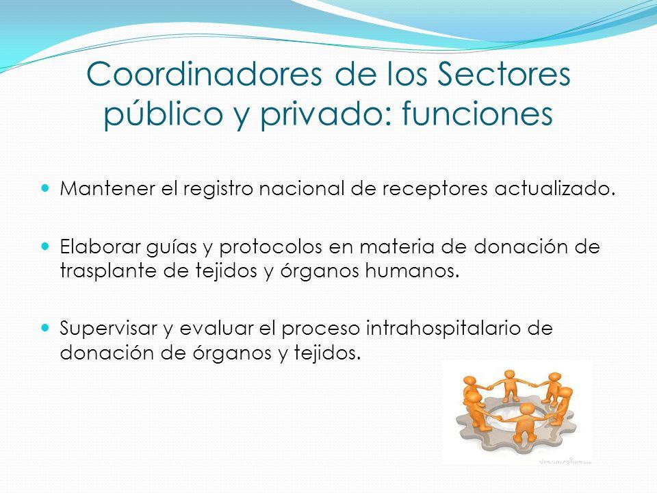 Coordinadores de los Sectores público y privado: funciones