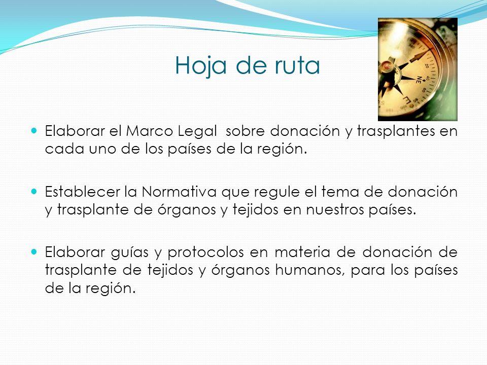 Hoja de ruta Elaborar el Marco Legal sobre donación y trasplantes en cada uno de los países de la región.