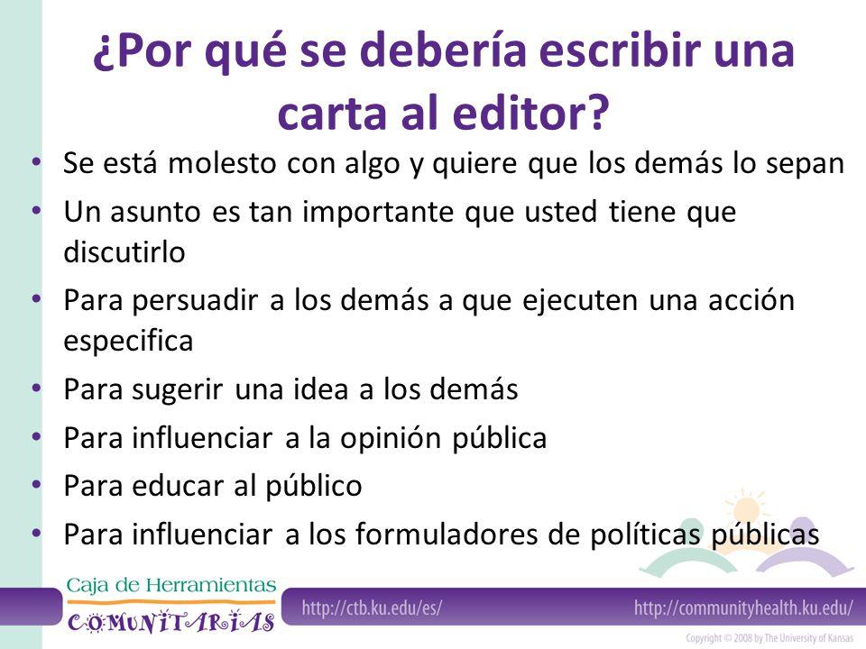 ¿Por qué se debería escribir una carta al editor