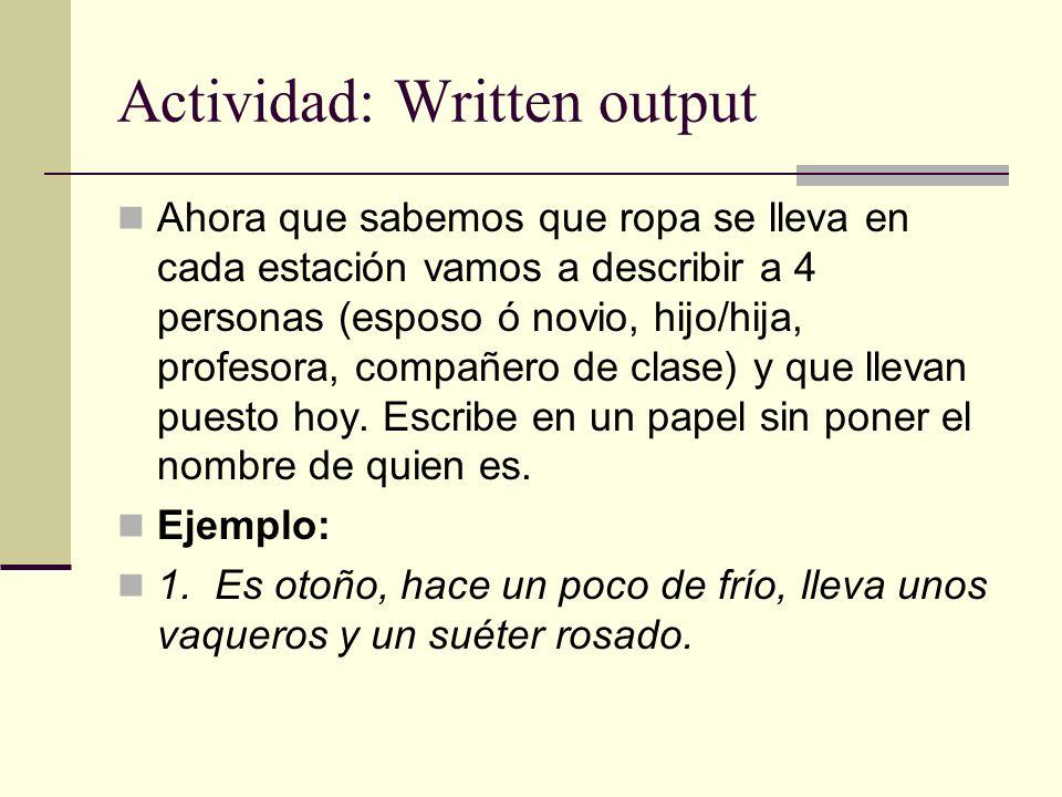 Actividad: Written output