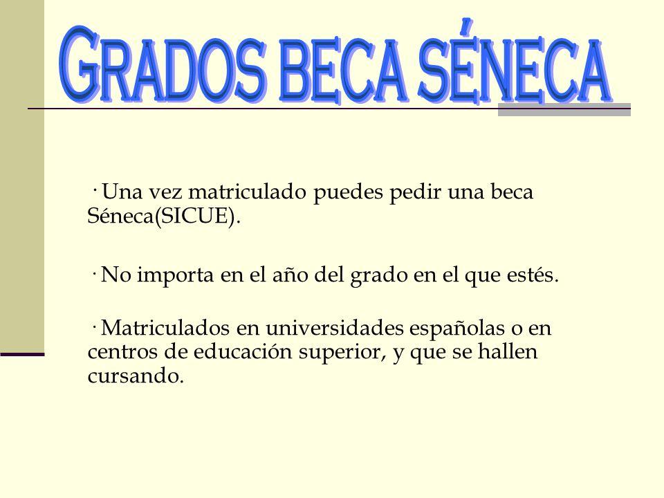 Grados beca séneca · Una vez matriculado puedes pedir una beca Séneca(SICUE). · No importa en el año del grado en el que estés.