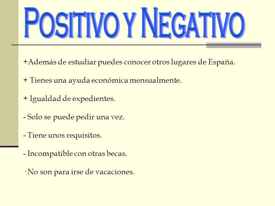 Positivo y Negativo +Además de estudiar puedes conocer otros lugares de España. + Tienes una ayuda económica mensualmente.