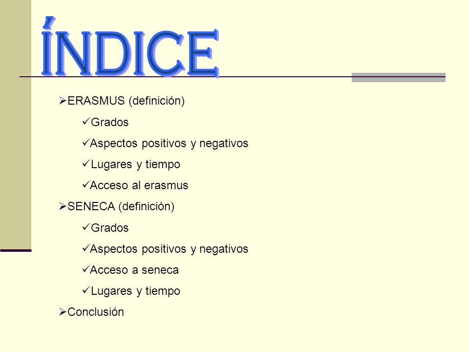 índice ERASMUS (definición) Grados Aspectos positivos y negativos