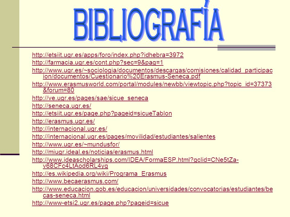 BIBLIOGRAFÍA http://etsiit.ugr.es/apps/foro/index.php idhebra=3972