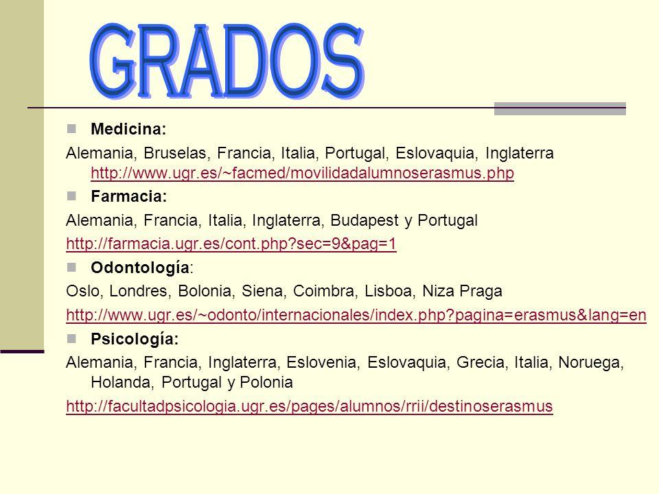 GRADOS Medicina: Alemania, Bruselas, Francia, Italia, Portugal, Eslovaquia, Inglaterra http://www.ugr.es/~facmed/movilidadalumnoserasmus.php.