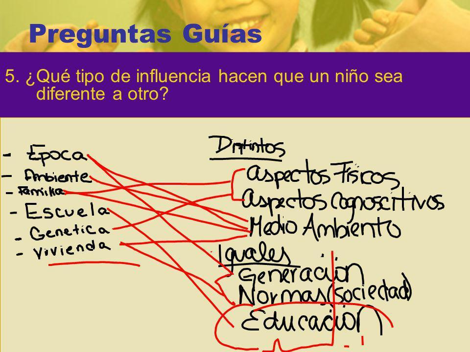 Preguntas Guías 5. ¿Qué tipo de influencia hacen que un niño sea diferente a otro