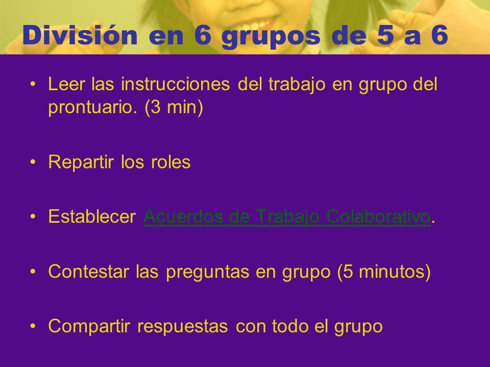 División en 6 grupos de 5 a 6 Leer las instrucciones del trabajo en grupo del prontuario. (3 min) Repartir los roles.